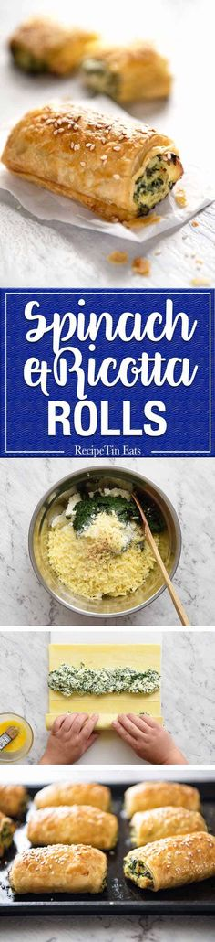 Spinach and Ricotta Rolls - a moist cheesy filling enclosed with buttery flaky puff pastry. Great make ahead for freezing! Vegetarian Recipes, Cooking Recipes, Spinach Recipes, Pasta Recipes, Frozen Vegetable Recipes, Spinach Ricotta, Spinach Rolls, Frozen Spinach, Recipetin Eats