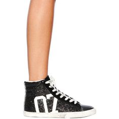 Kim & Zozi Glitter Hi Top Sneaker ($49) ❤ liked on Polyvore featuring shoes, sneakers, black, black leather shoes, leather sneakers, leather high tops, high top shoes and glitter sneakers