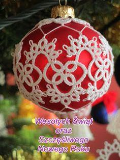 Beaded Christmas Ornaments, Christmas Balls, Christmas Art, Christmas Gifts, Shuttle Tatting Patterns, Needle Tatting Patterns, Tatting Tutorial, Advent, Thread Art