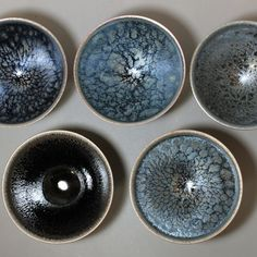 Tenmoku wan tea cups assortment of 5pcs by Hashimoto Daisuke #ceramics #japaneseceramics #pottery #japanesepottery #tenmoku #greentea #instatea #teaware #天目