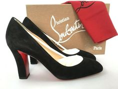 "Christian Louboutin Heels in ""Women's Clothing, Shoes and Heels"" Patent Heels, Patent Leather Pumps, Christian Louboutin Sandals, Black High Heels, Slingback Sandal, Pump Shoes, Shoe Brands, Black Suede, Block Heels"