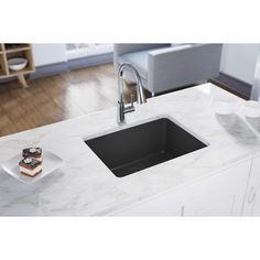 Elkay Quartz Classic L x W Double Basin Undermount Kitchen Sink with Aqua Divide Finish: Dusk Gray Single Bowl Kitchen Sink, Farmhouse Sink Kitchen, Kitchen Sinks, Stone Kitchen, Kitchen Items, Kitchen Dining, Kitchen Island, Composite Sinks