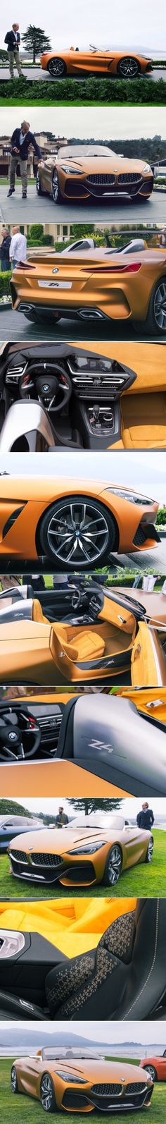 The German automaker unveils a new roadster concept at the 2017 Pebble Beach Concours d'Elegance exhibiting more muscle and movement. Bmw Z4 Roadster, Bmw Concept, Pebble Beach Concours, Shakespeare, Rolls, Game, Board, Vehicles, Cars