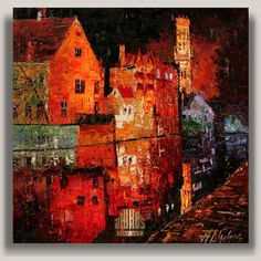 ANDRE DLUHOS Bruges Night Lights Canal City Reflection ORIGINAL ART Oil Painting #Impressionism