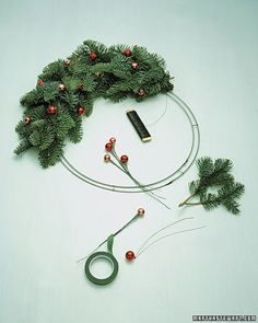 Wire frames are the most versatile supports for wreaths. Widely available in a variety of shapes, they're sturdy enough for heavy materials like evergreen boughs and citrus fruits. A single-wire frame is best for a thin, delicate wreath; for a lush-looking wreath, start with a double-wire frame.  Attach floral wire on a paddle to the crossbar of a double-wire wreath form of any shape. For this wreath, we used Noble fir, but you can use other evergreen cuttings.