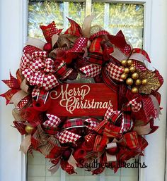 Rustic Christmas Wreath, Merry Christmas Door Wreath, Christmas Decorations, Burlap red and gold wreath ad