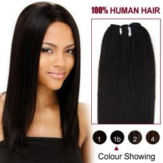 10 Natural Black(#1b) Straight Indian Remy Hair Wefts