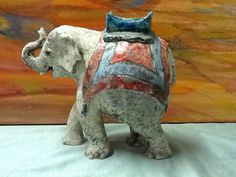 Elephant,Raku fired By Valerie Shepherd