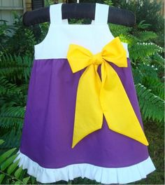 LSU Tiger Dress with Bow --I'm so adding this one to my shop soon!
