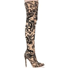 Ornate Velvet Nude Thigh High Boots ($55) ❤ liked on Polyvore featuring shoes, boots, heels stilettos, nude boots, above knee boots, thigh-high boots and over the knee stiletto boots