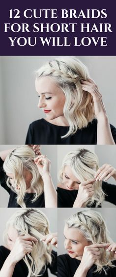 Believe it or not, there are many easy and cute braids for short hair! Dare to be daring and absolutely rock the utmost cutest braid for short hair! #hair #hairstyles Box Braids Hairstyles, Cool Hairstyles, Hairstyle Ideas, Hairstyles 2016, Hair Updo, Summer Hairstyles, 1800s Hairstyles, Hair Ideas, Bridal Hairstyle