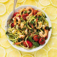 Lemon baby marrow noodles with garlic chilli prawns - MyKitchen Tomato Pasta Recipe, Cherry Tomato Pasta, Cherry Tomatoes, Spaghetti Recipes, Pasta Recipes, Chilli Prawns, Vegetarian Options, Pasta Salad, Noodles