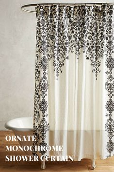 I love the design on this shower curtain. It's so pretty and intricate! #showercurtain #bathroomideas #afflink