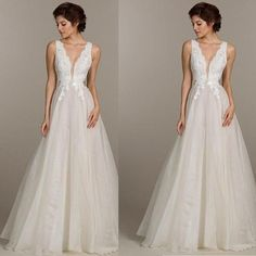 2017 Popular Long A-line Sleeveless White Tulle Lace Cheap Wedding Dresses, WD0203