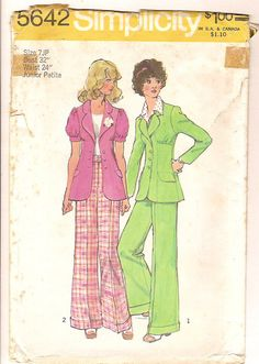 Vintage 70s Jacket Pants Suit Sewing Pattern Simplicity 5642 -Long or Short Sleeves Fitted Empire Bust Flared Leg Pants -UNCUT Size 7 Petite