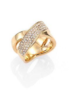 Michael Kors Pav? Crisscross Ring/Goldtone