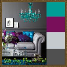 slate, grey, plum and teal room - this is the color scheme I went with in my bedroom makeover