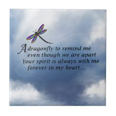 Dragonfly  Memorial Poem Small Square Tile