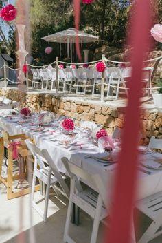 Pink and White Christening in Ibiza .. beach , beautiful