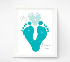 Gift for Dad Child Footprint Hearts by PitterPatterPrint on Etsy, $35.00