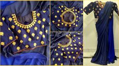Blues....heavy satin georgette saree in navy blue double tone fabric. Comes with an embroidered readymade blouse.