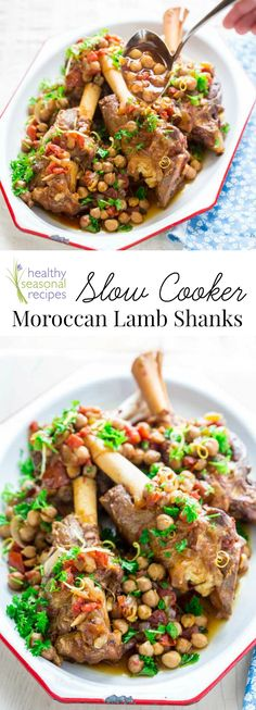 The slow cooker slowly braises these lemon cinnamon scented lamb shanks and renders them utterly delicious and totally Lamb Recipes, Sausage Recipes, Meat Recipes, Slow Cooker Recipes, Whole Food Recipes, Healthy Recipes, Crockpot Recipes, Healthy Eats, Free Recipes