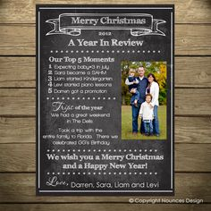 Year In Review  Chalkboard   Christmas Card  Holiday by nounces, $15.00