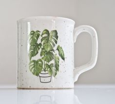 1970s Monstera stoneware mug. Perfect for a plant lover!