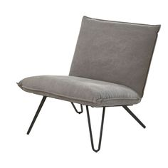 Add a simple, designer touch to your living room with the LUCAS Grey Cotton Armchair! Flaunting a modern silhouette without armrests, this armchair in Affordable Furniture, Unique Furniture, Home Decor Furniture, Furniture Design, Furniture Stores, Metal Furniture, Sofa Furniture, Take A Seat, Love Seat