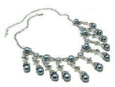 Schmuckset Perlen Strass Collier Kette Silber + Ohrringe NEU (5175) Willkommen im  www.Chelsea-Fashion-Glamur.de  Shop Secondhand und Neuware Mode zu günstigen Preisen   Dies und Das für jeden was.....