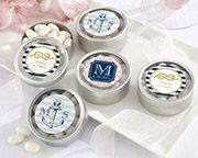 Personalized Nautical Wedding Silver Round Candy Tin (Set of 12)
