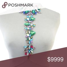 Make me an offer- Body Chain Delicate Cut Out Geometric Rhinestone Body Chain For Women.                                                   Material: Semi-Precious Stone  Metal Type: Silver Plated Jewelry
