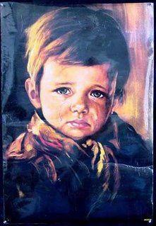 """""""El cuadro del niño que llora"""", extraña historia en el arte."""