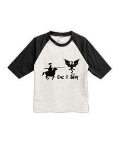 Look what I found on #zulily! Cream & Black 'Cuz I Slay' Raglan Tee - Toddler & Kids #zulilyfinds