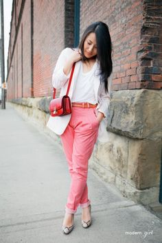 Pastel pink pants, 2013 top lovely pastel pink pencil pants, fashion pastel pink trousers with pockets for girls #pastel #pink #pants www.loveitsomuch.com