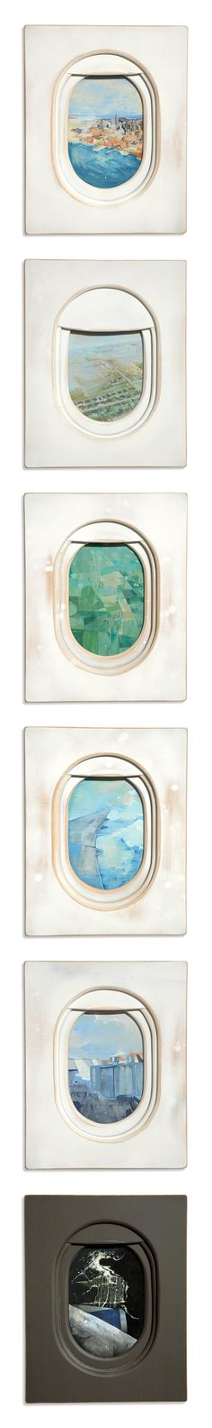 Paintings of airplane windows