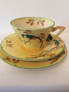 Burleigh Ware Parrot Trio Cup Saucer And Plate Art Deco Cooking Dishes, Dec 2016, Plate Art, High Tea, Teacups, Cup And Saucer, Parrot, Paradise, Art Deco