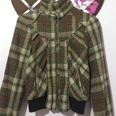 Brown Plaid Jacket Size Small Used