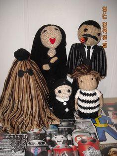 Addams family Doll set amigurumi horror crochet by PunkRockWhiteTrash on Etsy https://www.etsy.com/listing/104484794/addams-family-doll-set-amigurumi-horror
