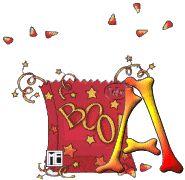 Oh my Alfabetos!: Alfabeto animado fantasmita saliendo de bolsa.