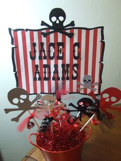 Pirate Birthday Party Centerpiece Baby Shower by welcometomystore, $11.99