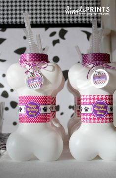 Puppy Birthday Party theme by DimplePrints. Give each guest a dog bone drinking bottle to use and take home as a puppy party favor.