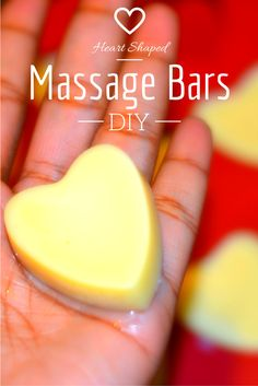 "DIY Heart Shaped Massage Bars. Making your own ""lush style"" solid lotion bars from scratch with just three ingredients you can find at the supermarket! Great for the winter season and an easy homemade Valentine's Day Gift! Very soothing for chapped, eczema-prone skin or as lip balm, diy solid lotion bars great for travel, cocoa butter bars made with coconut oil and almond oil, all natural ingredients, lotion bars diy 