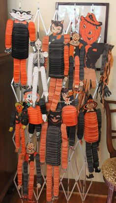collection of vintage halloween paper accordion decorations - Vintage Halloween Decorations Ebay