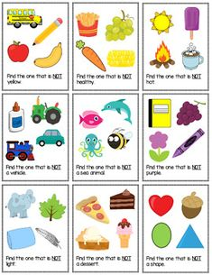 Non-Example Task Cards by The Autism Helper Speech Therapy Worksheets, Preschool Speech Therapy, Preschool Learning Activities, Kids Learning Activities, Speech Therapy Activities, Speech Language Therapy, Language Activities, Speech And Language, Basic English For Kids