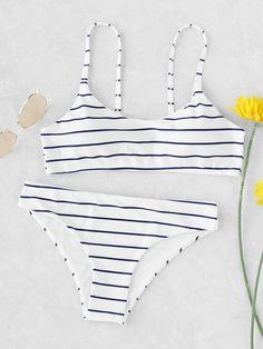 Shop Striped Print Spaghetti Strap Bikini Set online. SheIn offers Striped Print Spaghetti Strap Bikini Set & more to fit your fashionable needs.