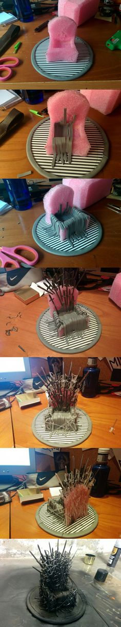 - A phone stand for the most loyal of men (and women). Are you a true enough Game of Thrones fan for the crafty challenge? All Men Must Text: DIY Iron Throne Phone Stand - Iphone 8 Stand - Ideas of Iphone 8 Stand Nerd Crafts, Fun Crafts, Diy And Crafts, Arts And Crafts, Game Of Thrones Party, Game Of Thrones Fans, Crea Fimo, Craft Projects, Projects To Try