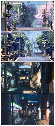 "The stunning realistic scenes in the animated film ""5 Centimeters Per Second"" by Makoto Shinkai."