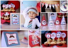 LITTLE MAN Mustache Bash PARTY pack with Invitation Cupcake toppers Banner Favor tags, Signs and party hats Printable. $49.00, via Etsy.