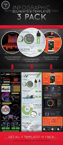 Make you very own Infographics from a variety of charts and graphs. Here are all the elements you will need for you to customize your own inforgraphic. Bar charts, pie graphs, quick stats, and more!  3 TEMPLATES INCLUDED:  CQ Infographic Templates Ve Продвижение сайтов в Барселоне, Испании, Европе и России ! Качественный сервис от компании SEOBCN мы находимся в Барселоне http://nensi.net/trust_sites/